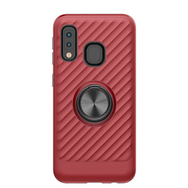 Samsung Galaxy A10E - Premium Ring Admiral Magnetic Kickstand Case - Red