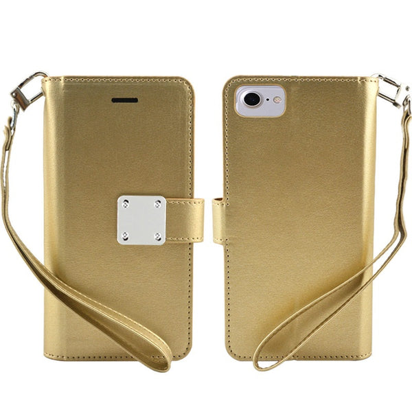 Samsung Galaxy A10E - Premium Magnetic Snap Wallet Credit Card Holder - Gold