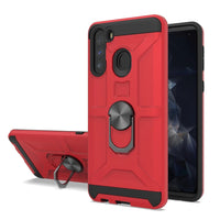 Samsung Galaxy A11 -  Premium Robot Ring Magnetic Kickstand Case - Red