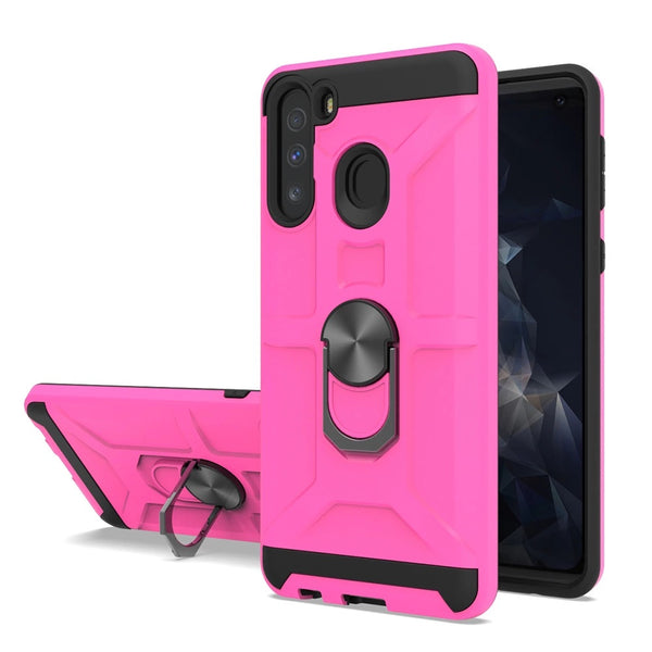 Samsung Galaxy A11 -  Premium Robot Ring Magnetic Kickstand Case - Hot Pink