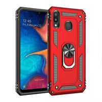 Samsung Galaxy A20 - Premium Ring Magnetic Kickstand Case - Red