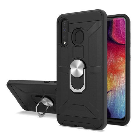 Samsung Galaxy A20 - Premium Robot Ring Magnetic Kickstand Case - Black