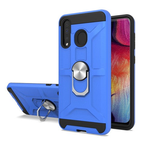 Samsung Galaxy A20 - Premium Robot Ring Magnetic Kickstand Case - Blue