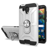 Samsung Galaxy A20 - Premium Robot Ring Magnetic Kickstand Case - Silver
