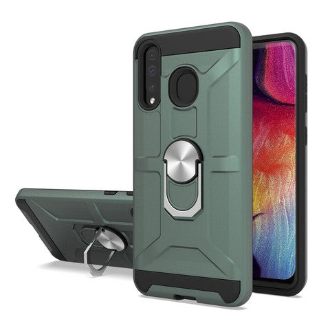 Samsung Galaxy A20 - Premium Robot Ring Magnetic Kickstand Case - Green