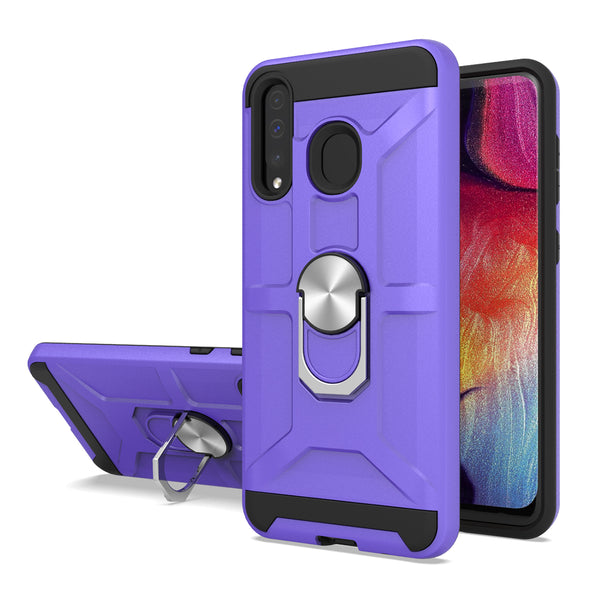 Samsung Galaxy A20 - Premium Robot Ring Magnetic Kickstand Case - Purple