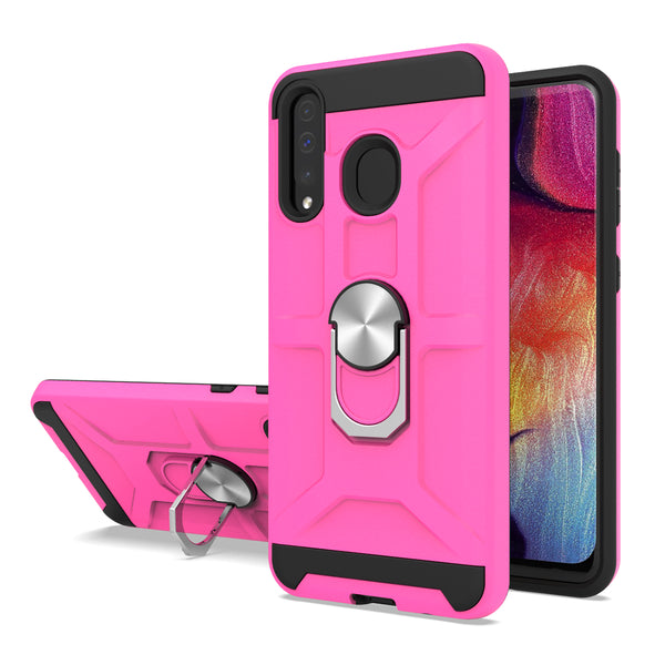 Samsung Galaxy A20 - Premium Robot Ring Magnetic Kickstand Case - Hot Pink