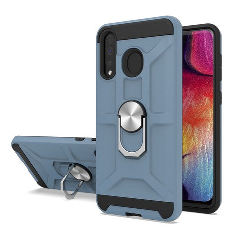 Samsung Galaxy A20 - Premium Robot Ring Magnetic Kickstand Case - Navy Blue