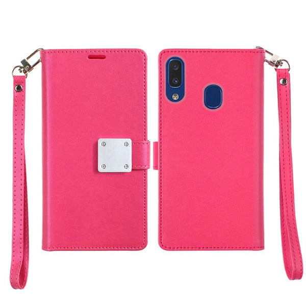 Samsung Galaxy A20 - Premium Magnetic Snap Wallet Credit Card Holder - Hot Pink