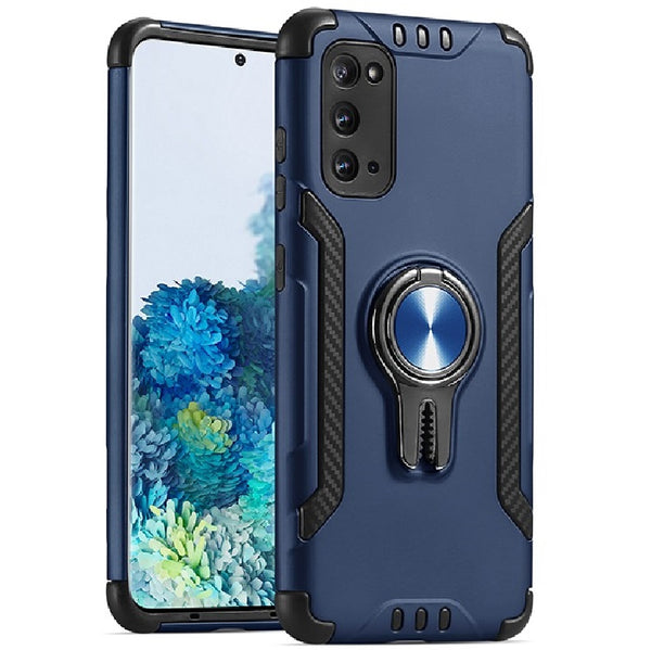 Samsung Galaxy A21 - Premium Car Holder Kickstand Case - Blue