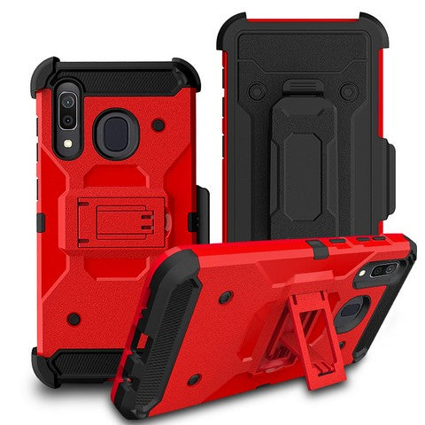 Samsung Galaxy A21 - Premium Rugged Holster Clip Case - Red