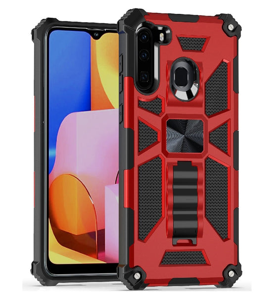 Samsung Galaxy A21 - Premium Rugged Magnetic Kickstand Case - Red