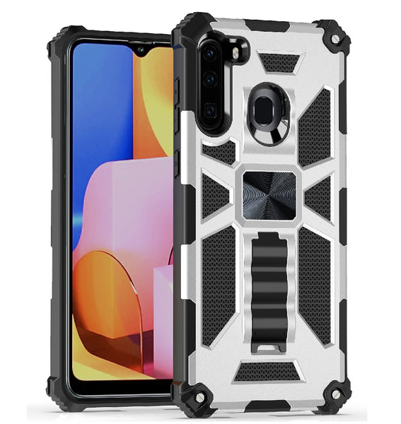 Samsung Galaxy A21 - Premium Rugged Magnetic Kickstand Case - Silver