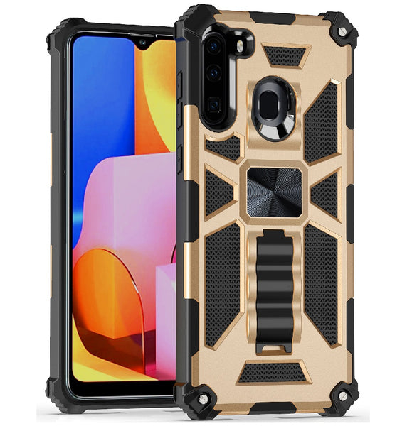 Samsung Galaxy A21 - Premium Rugged Magnetic Kickstand Case - Gold
