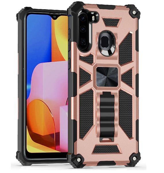 Samsung Galaxy A21 - Premium Rugged Magnetic Kickstand Case - Rose Gold