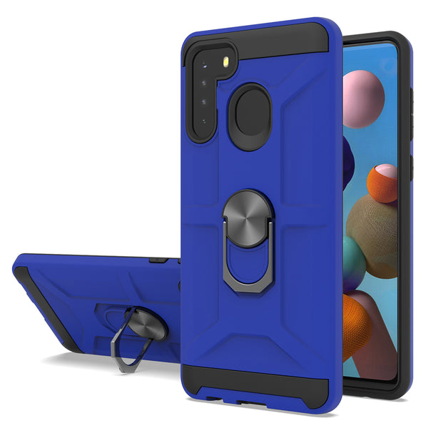 Samsung Galaxy A21 - Premium Robot Ring Magnetic Kickstand Case - Blue