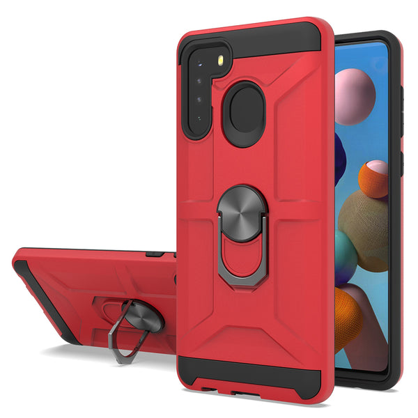 Samsung Galaxy A21 - Premium Robot Ring Magnetic Kickstand Case - Red