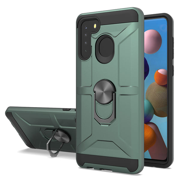 Samsung Galaxy A21 - Premium Robot Ring Magnetic Kickstand Case - Green