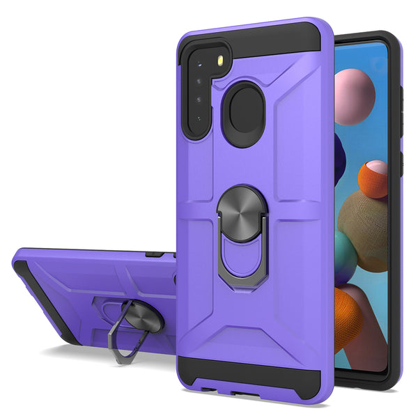 Samsung Galaxy A21 - Premium Robot Ring Magnetic Kickstand Case - Purple