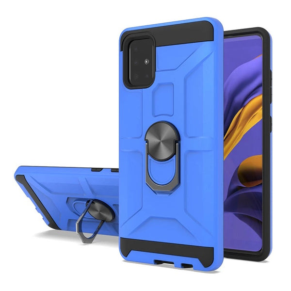 Samsung Galaxy A51 - Premium Robot Ring Magnetic Kickstand Case - Blue