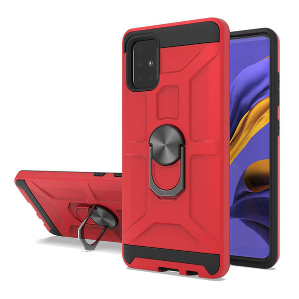 Samsung Galaxy A51 - Premium Robot Ring Magnetic Kickstand Case - Red