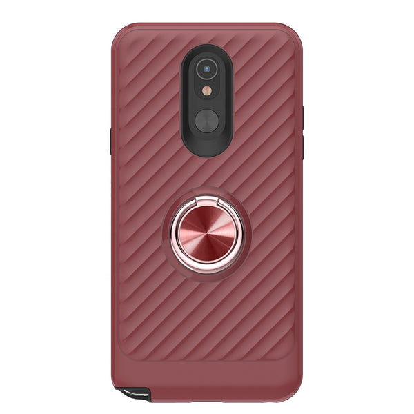 LG Aristo 4 Plus - Premium Ring Admiral Magnetic Kickstand Case - Red