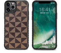 LG Aristo 4 Plus - Premium Checker Leather Case - Brown