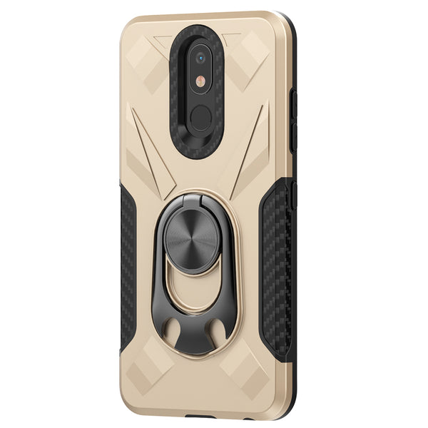 LG Aristo 4 Plus - Premium Ring Commander Magnetic Case - Gold