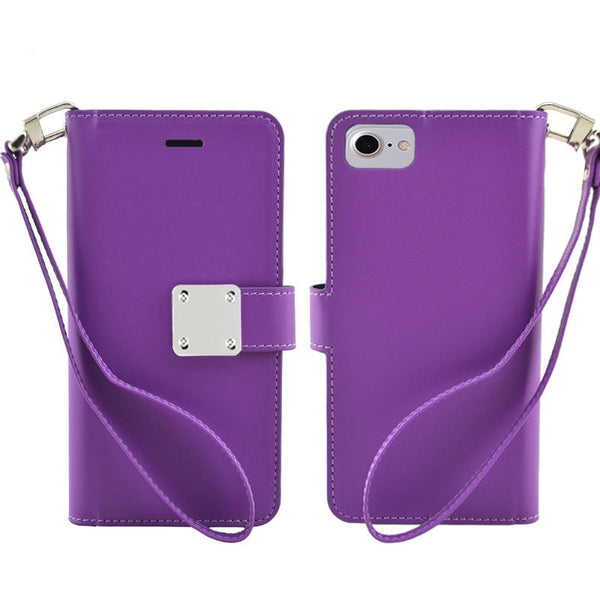 LG Aristo 4 Plus - Premium Magnetic Snap Wallet Credit Card Holder - Purple
