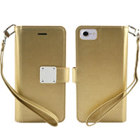 LG Aristo 4 Plus - Premium Magnetic Snap Wallet Credit Card Holder - Gold