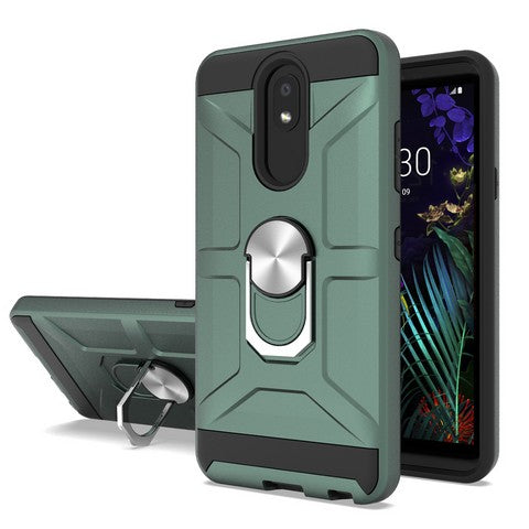 LG Aristo 4 Plus - Premium Robot Ring Magnetic Kickstand Case - Green