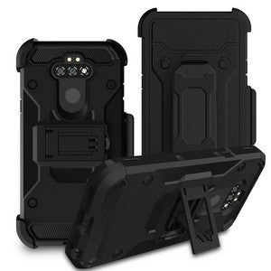 LG Aristo 5 - Premium Rugged Holster Clip Case - Black