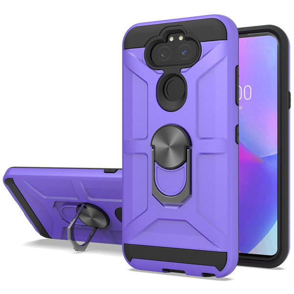LG Arsito 5 - Premium Robot Ring Magnetic Kickstand Case - Purple