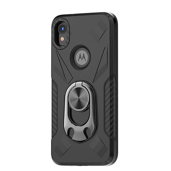 Moto E6 - Premium Ring Commander Magnetic Case - Black
