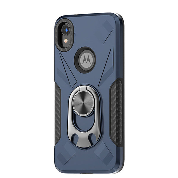 Moto E6 - Premium Ring Commander Magnetic Case - Blue