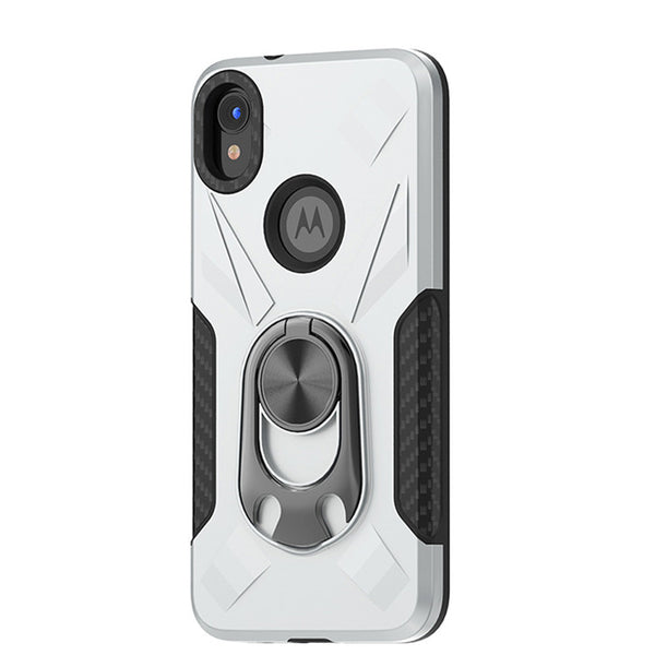Moto E6 - Premium Ring Commander Magnetic Case - Silver