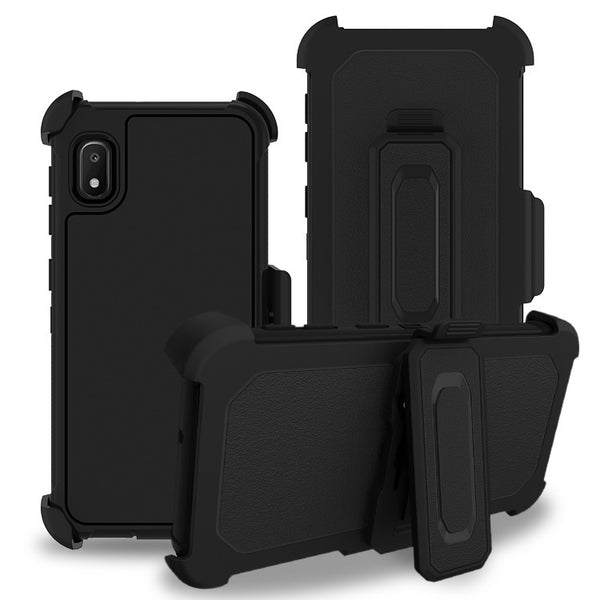 Moto E6 - Premium Heavy Duty Holster Clip Case - Black