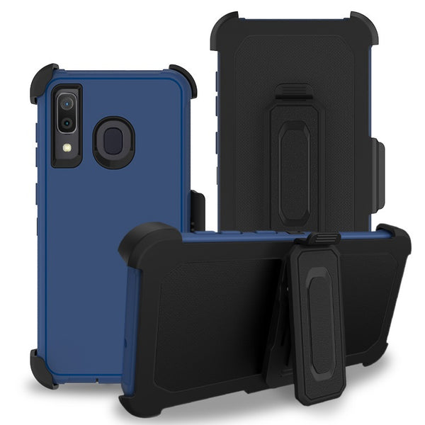 Moto E6 - Premium Heavy Duty Holster Clip Case - Blue