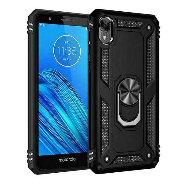 Moto E6 - Premium Ring Magnetic Kickstand Case - Black