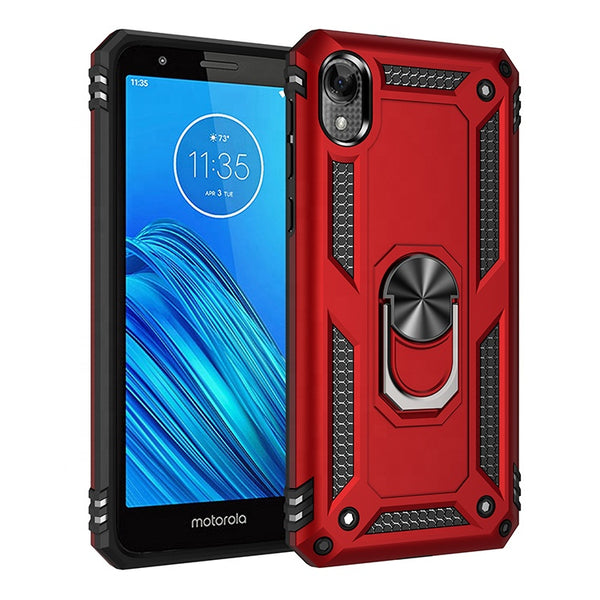 Moto E6 - Premium Ring Magnetic Kickstand Case - Red