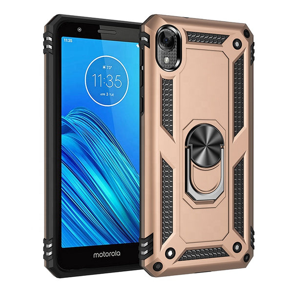 Moto E6 - Premium Ring Magnetic Kickstand Case - Gold