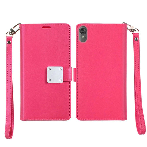 Moto E6 - Premium Magnetic Snap Wallet Credit Card Holder - Hot Pink