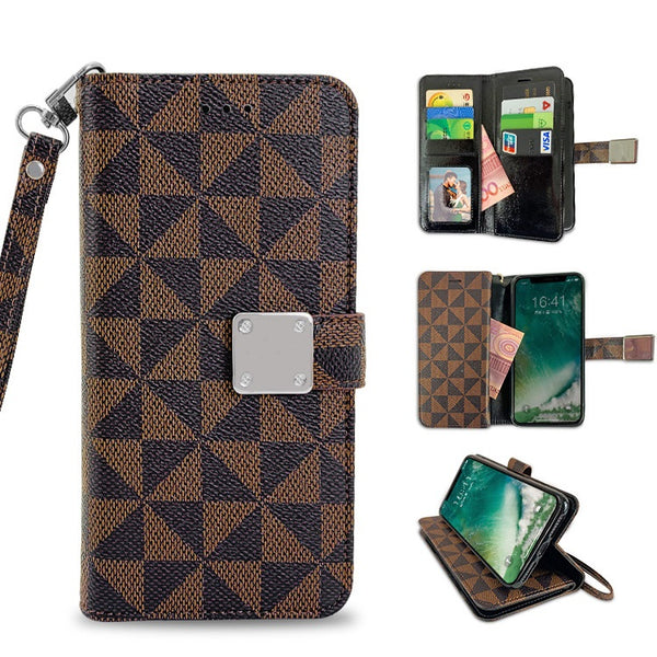 Moto G7 Play - Premium Magnetic Snap Checker Wallet Credit Card - Brown