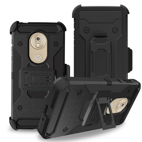 Moto G7 Play - Premium Rugged Holster Clip Case - Black