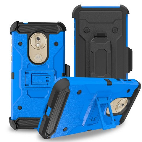 Moto G7 Play - Premium Rugged Holster Clip Case - Blue