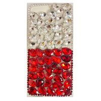 Moto G7 Play - Premium Diamond Rhinestone Case - Red/Silver