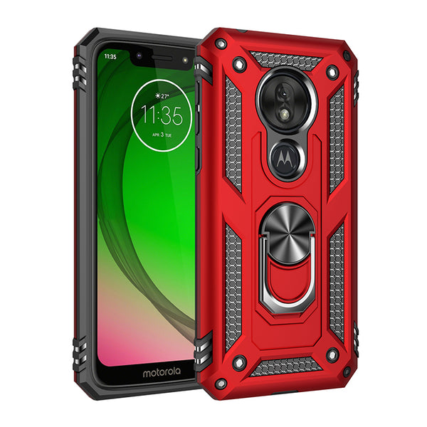 Moto G7 Play - Premium Ring Magnetic Kickstand Case - Red