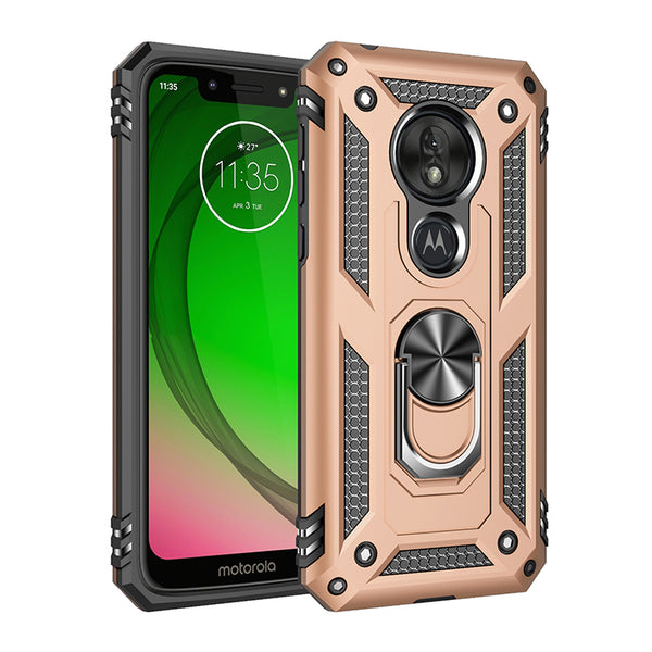 Moto G7 Play - Premium Ring Magnetic Kickstand Case - Gold