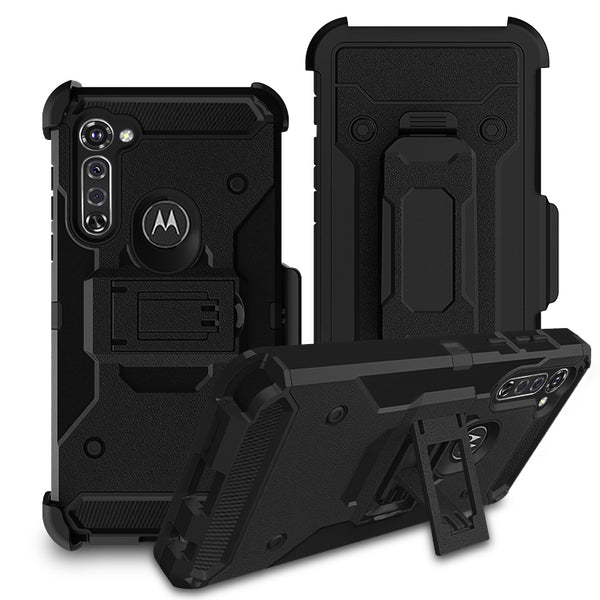 Moto G Stylus - Premium Rugged Holster Clip Case - Black