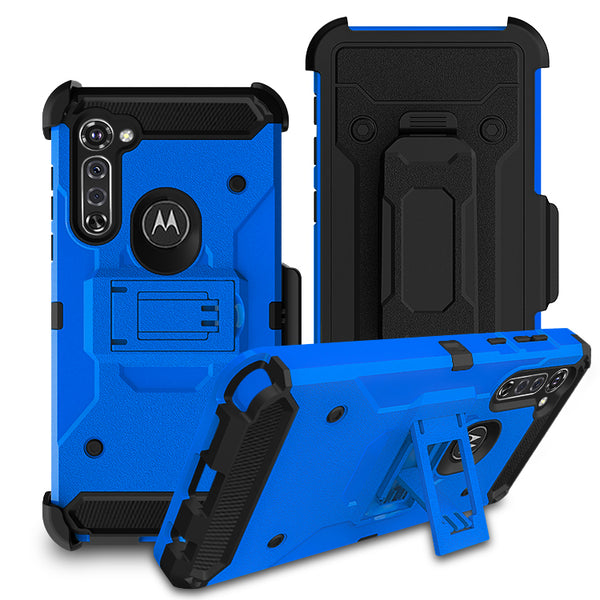 Moto G Stylus - Premium Rugged Holster Clip Case - Blue